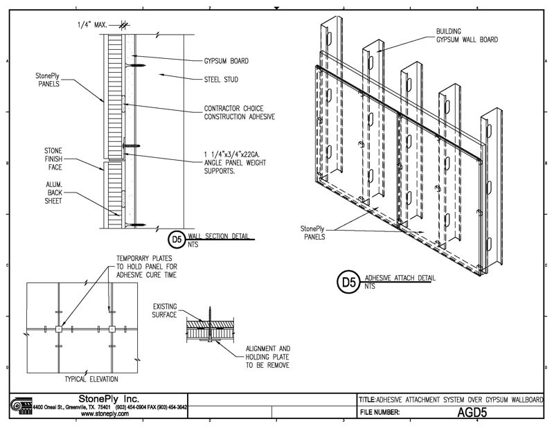 Gypsum Partition Details : Stoneply cad drawings and details stone panel information